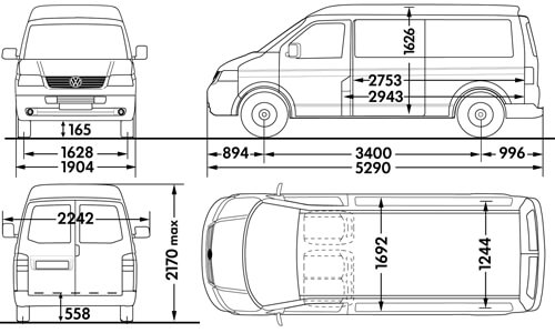 vw t2 interior dimensions